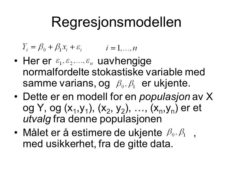 Regresjonsmodellen Her er uavhengige normalfordelte stokastiske variable med samme varians, og er ukjente. Dette er en modell for en populasjon av X o