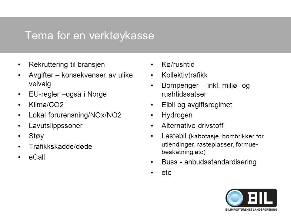 Tema for en verktøykasse Rekruttering til bransjen Avgifter – konsekvenser av ulike veivalg EU-regler –også i Norge Klima/CO2 Lokal forurensning/NOx/NO2 Lavutslippssoner Støy Trafikkskadde/døde eCall Kø/rushtid Kollektivtrafikk Bompenger – inkl.
