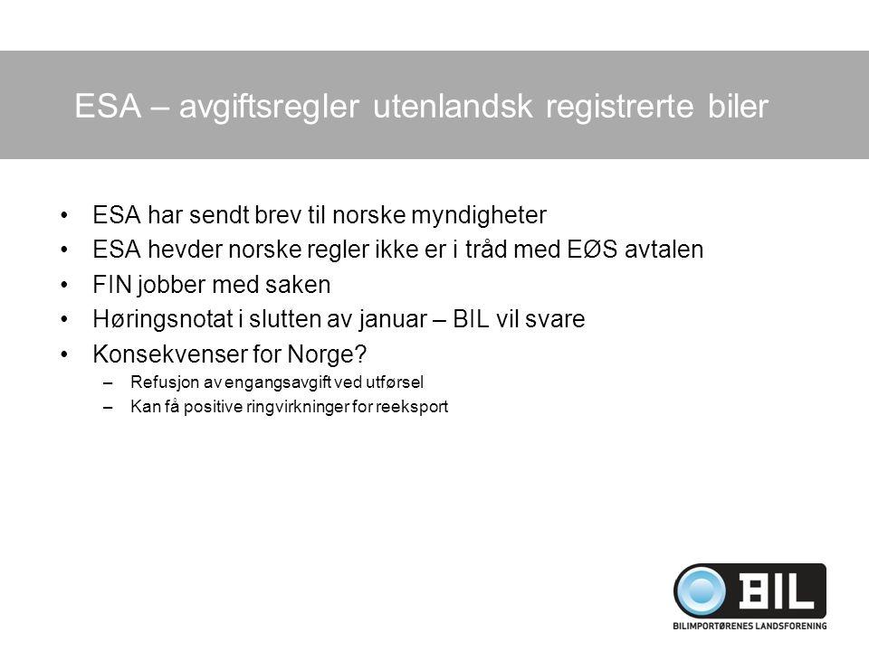 ESA – avgiftsregler utenlandsk registrerte biler ESA har sendt brev til norske myndigheter ESA hevder norske regler ikke er i tråd med EØS avtalen FIN jobber med saken Høringsnotat i slutten av januar – BIL vil svare Konsekvenser for Norge.