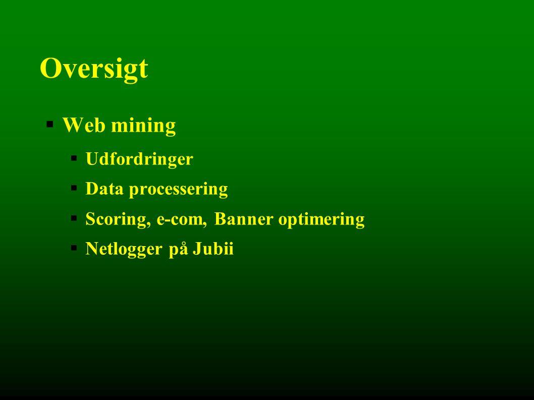 Oversigt  Web mining  Udfordringer  Data processering  Scoring, e-com, Banner optimering  Netlogger på Jubii