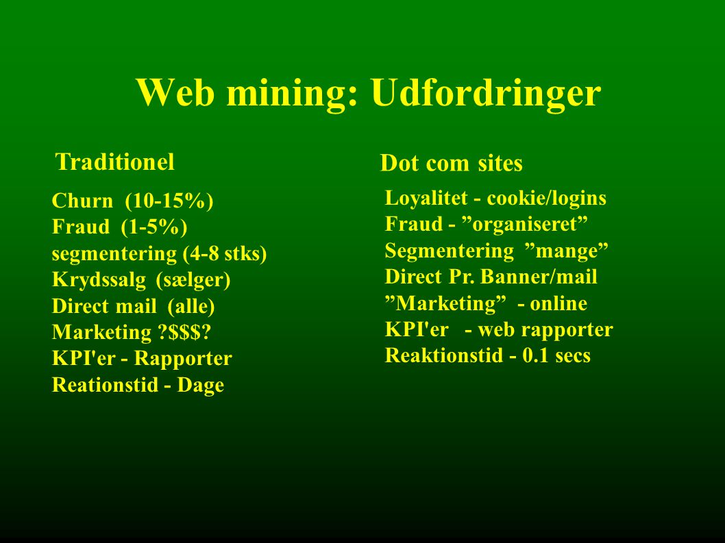 Web mining: Udfordringer Traditionel Dot com sites Churn (10-15%) Fraud (1-5%) segmentering (4-8 stks) Krydssalg (sælger) Direct mail (alle) Marketing