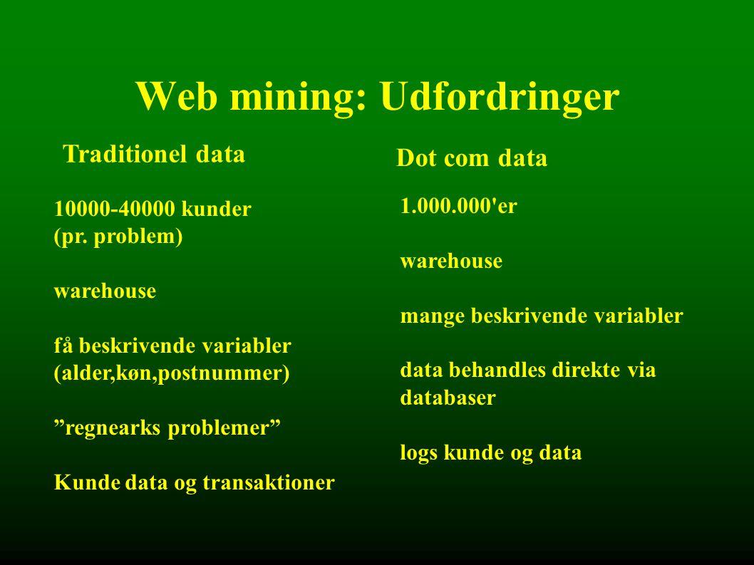 Web mining: Udfordringer Traditionel data Dot com data 10000-40000 kunder (pr.