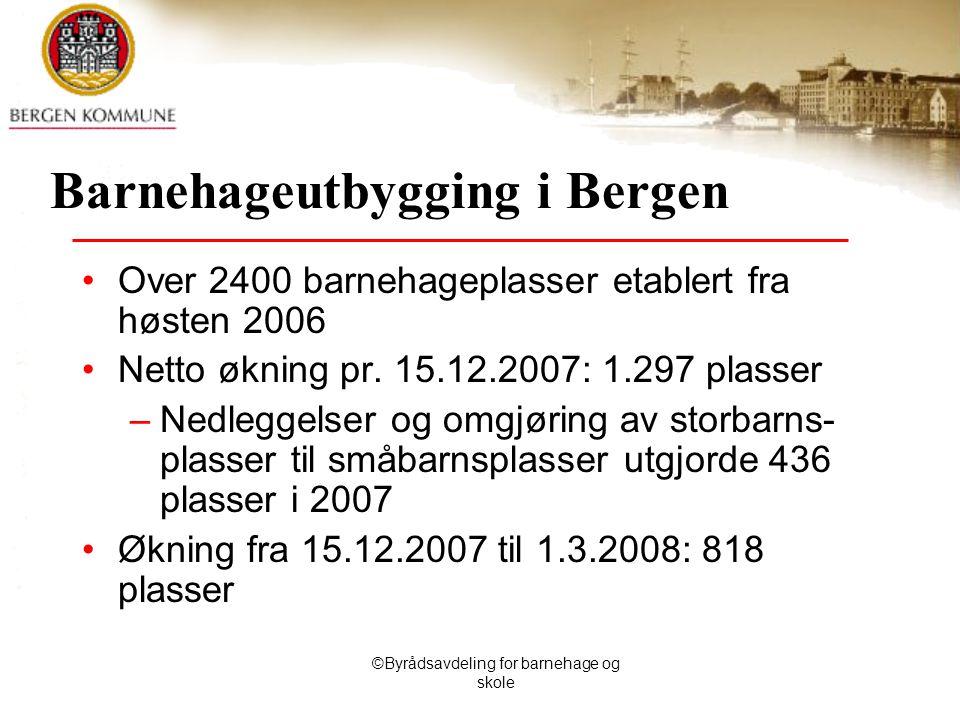 ©Byrådsavdeling for barnehage og skole Barnehageutbygging i Bergen Over 2400 barnehageplasser etablert fra høsten 2006 Netto økning pr.