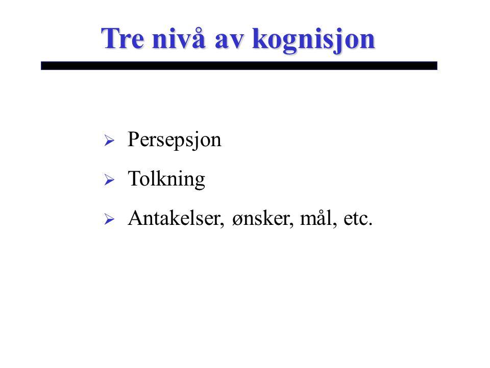 Tre nivå av kognisjon  Persepsjon  Tolkning  Antakelser, ønsker, mål, etc.