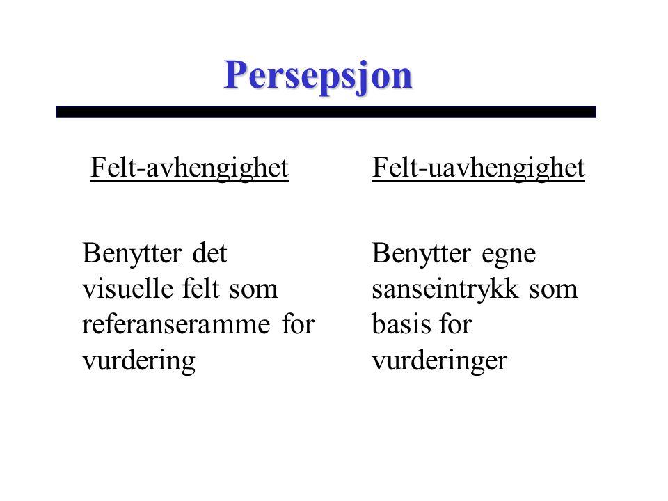 Persepsjon Felt-avhengighet Benytter det visuelle felt som referanseramme for vurdering Felt-uavhengighet Benytter egne sanseintrykk som basis for vur