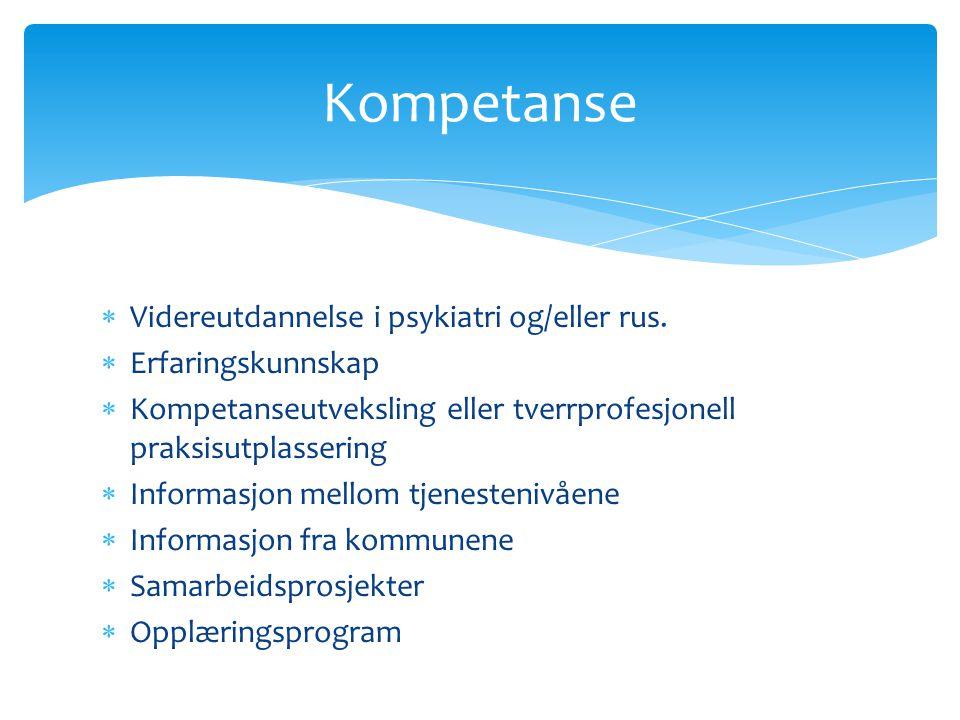  Videreutdannelse i psykiatri og/eller rus.  Erfaringskunnskap  Kompetanseutveksling eller tverrprofesjonell praksisutplassering  Informasjon mell
