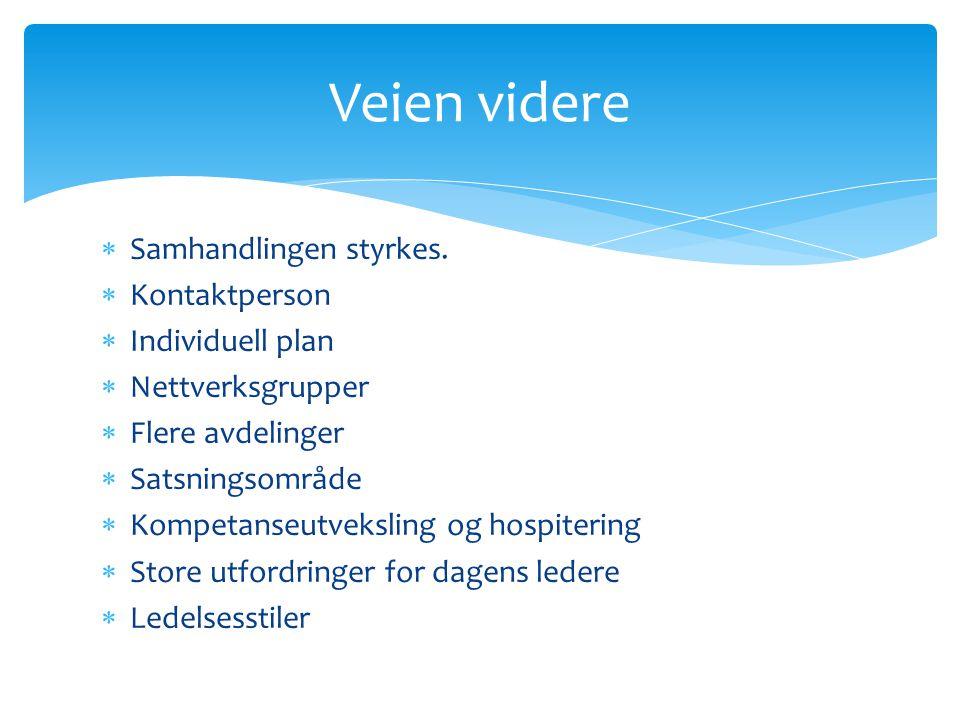  Samhandlingen styrkes.  Kontaktperson  Individuell plan  Nettverksgrupper  Flere avdelinger  Satsningsområde  Kompetanseutveksling og hospiter