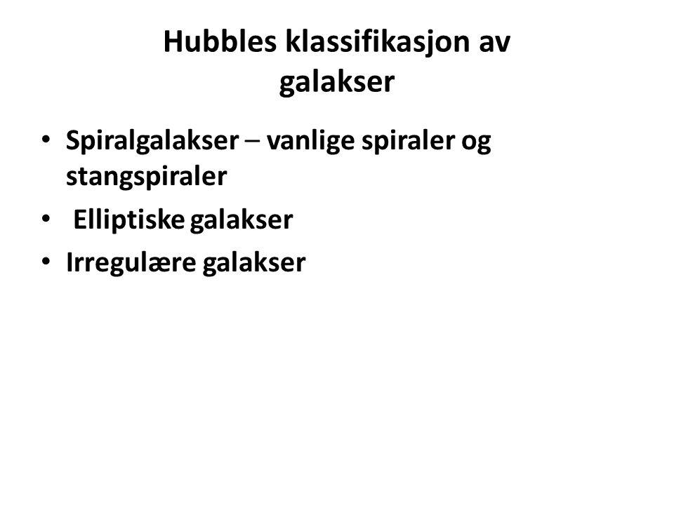 Hubbles klassifikasjon av galakser Spiralgalakser – vanlige spiraler og stangspiraler Elliptiske galakser Irregulære galakser