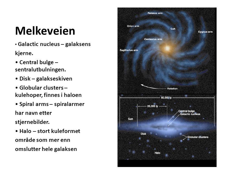 Melkeveien Galactic nucleus – galaksens kjerne.Central bulge – sentralutbulningen.