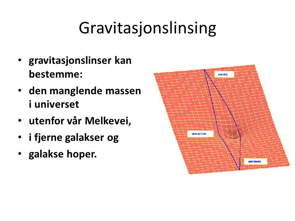 Gravitasjonslinsing gravitasjonslinser kan bestemme: den manglende massen i universet utenfor vår Melkevei, i fjerne galakser og galakse hoper.