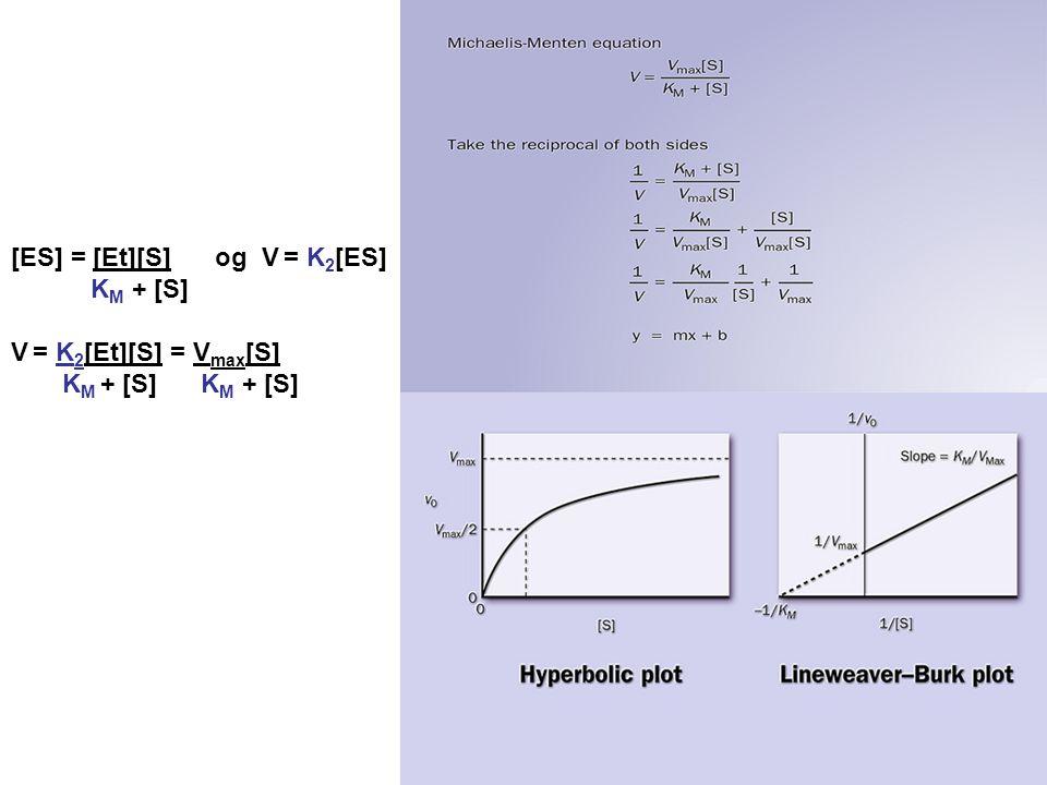 [ES] = [Et][S] og V = K 2 [ES] K M + [S] V = K 2 [Et][S] = V max [S] K M + [S] K M + [S]