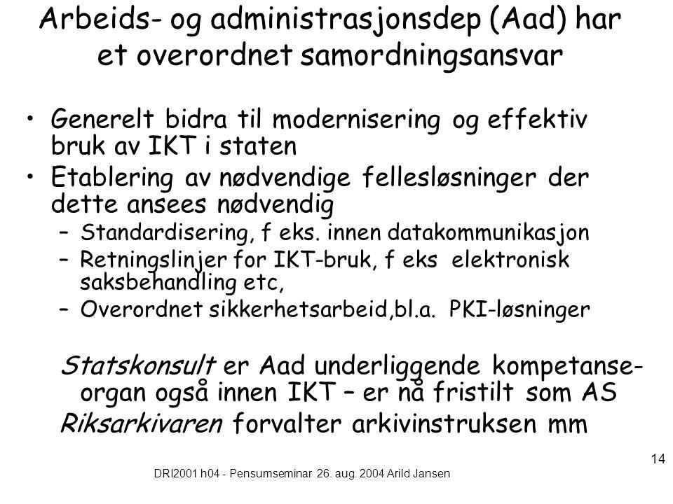 DRI2001 h04 - Pensumseminar 26. aug. 2004 Arild Jansen 14 Arbeids- og administrasjonsdep (Aad) har et overordnet samordningsansvar Generelt bidra til