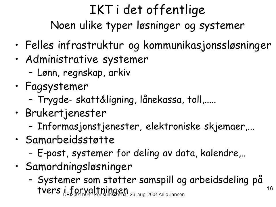 DRI2001 h04 - Pensumseminar 26. aug. 2004 Arild Jansen 16 IKT i det offentlige Noen ulike typer løsninger og systemer Felles infrastruktur og kommunik