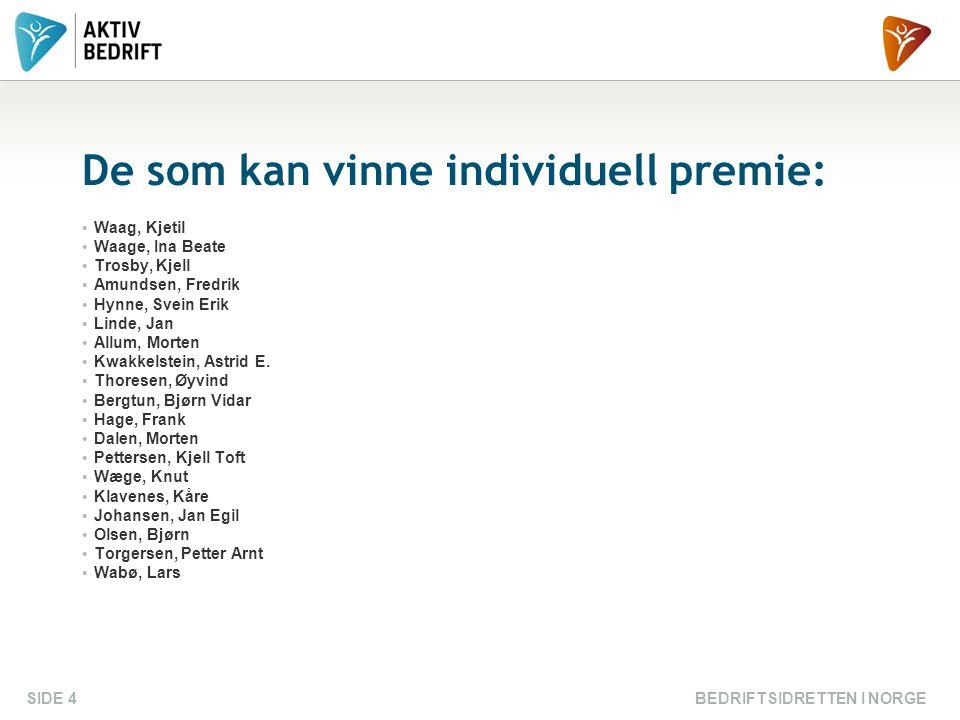 BEDRIFTSIDRETTEN I NORGESIDE 4 De som kan vinne individuell premie: Waag, Kjetil Waage, Ina Beate Trosby, Kjell Amundsen, Fredrik Hynne, Svein Erik Li