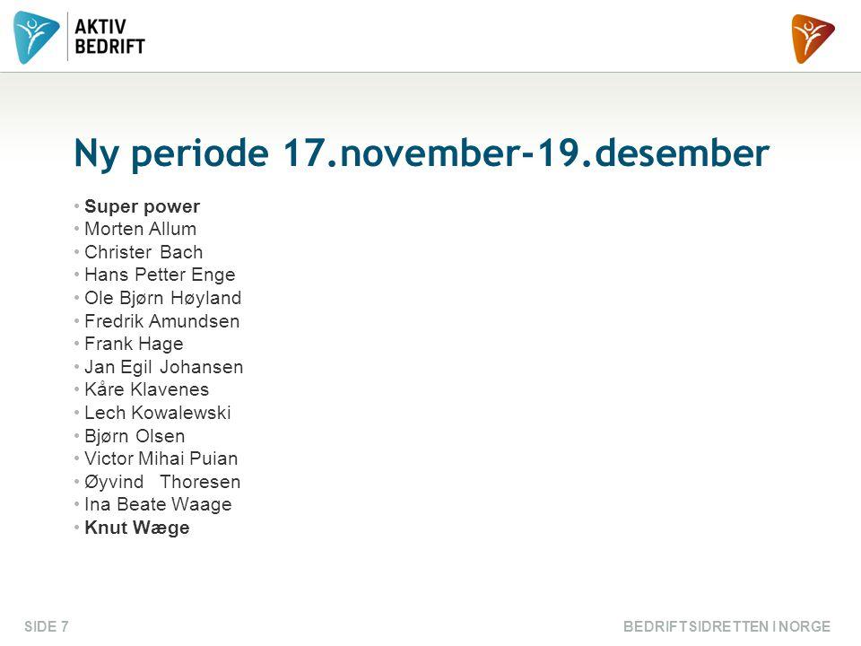 BEDRIFTSIDRETTEN I NORGESIDE 7 Ny periode 17.november-19.desember Super power Morten Allum ChristerBach Hans Petter Enge Ole Bjørn Høyland Fredrik Amu
