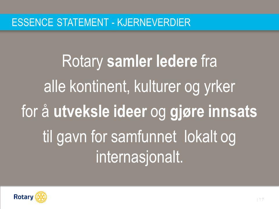 | 17 ESSENCE STATEMENT - KJERNEVERDIER Rotary samler ledere fra alle kontinent, kulturer og yrker for å utveksle ideer og gjøre innsats til gavn for samfunnet lokalt og internasjonalt.