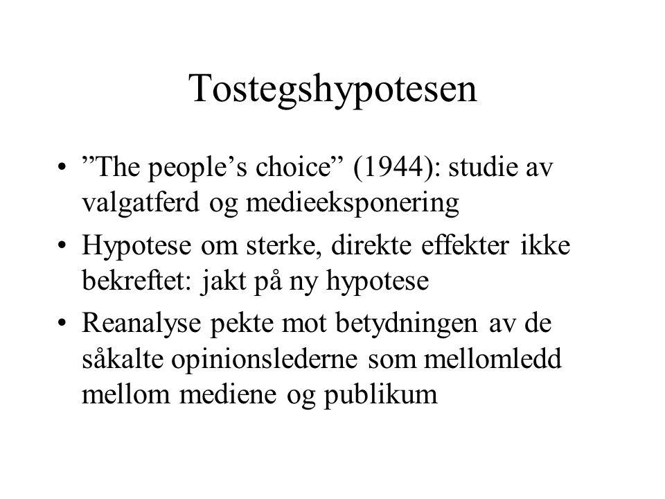 Tostegshypotesen The people's choice (1944): studie av valgatferd og medieeksponering Hypotese om sterke, direkte effekter ikke bekreftet: jakt på ny hypotese Reanalyse pekte mot betydningen av de såkalte opinionslederne som mellomledd mellom mediene og publikum