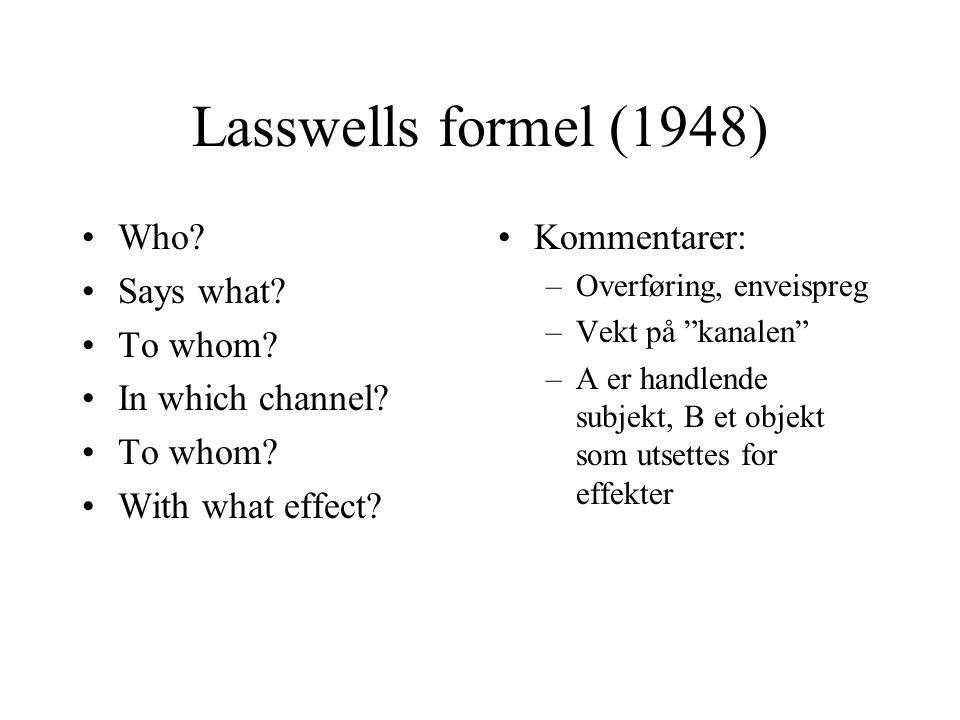 Feedback og kybernetikk Kybernetikken (Norbert Wiener): læren om systemers selvopprettholdelse, bygd særlig på biologien Kretsløpstenkning: kommunikasjon er en prosess av gjensidig kontroll og vedlikehold Viktig via forestillingen om feedback, som modererer det unilineære preget i mange retningsbaserte kommunkasjonsmodeller, eks.