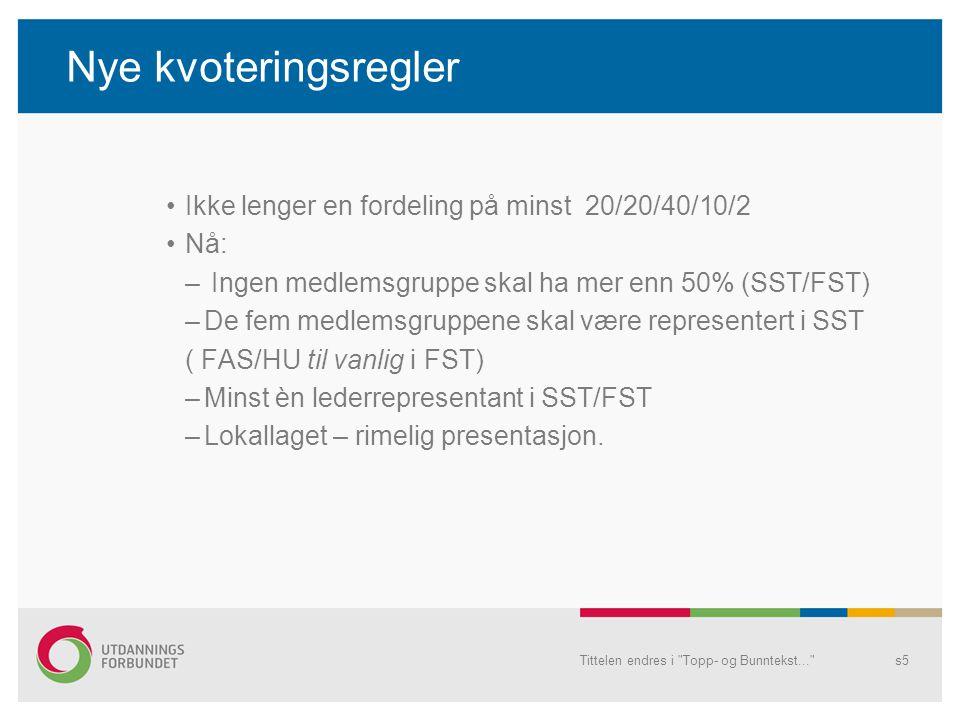 Nye kvoteringsregler Ikke lenger en fordeling på minst 20/20/40/10/2 Nå: – Ingen medlemsgruppe skal ha mer enn 50% (SST/FST) –De fem medlemsgruppene skal være representert i SST ( FAS/HU til vanlig i FST) –Minst èn lederrepresentant i SST/FST –Lokallaget – rimelig presentasjon.