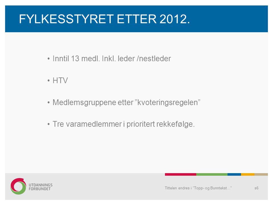 FYLKESSTYRET ETTER 2012. Inntil 13 medl. Inkl.
