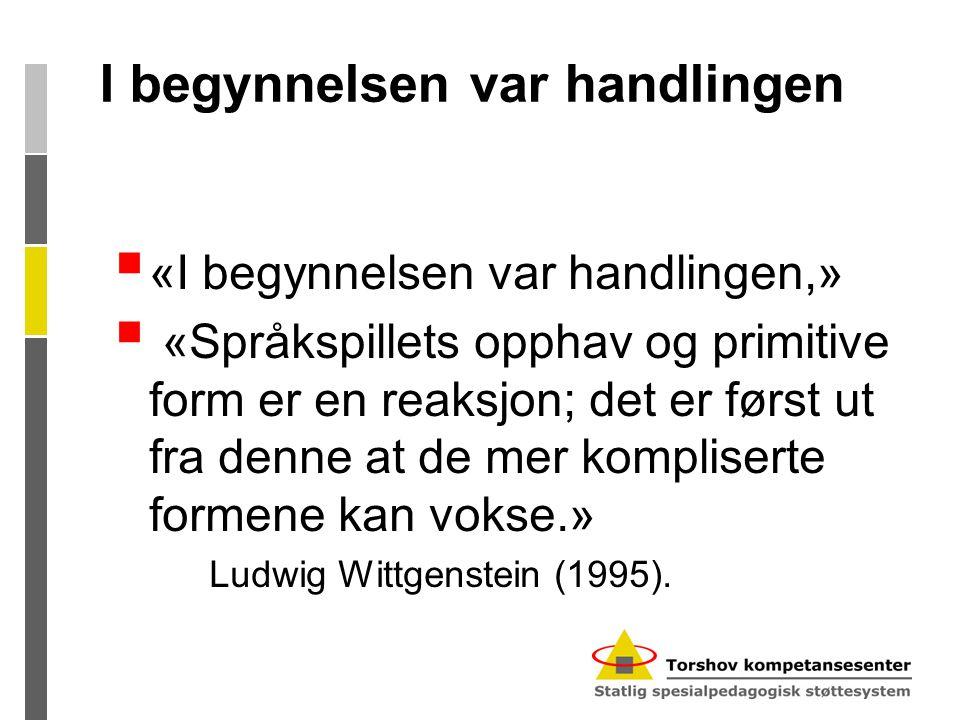 I begynnelsen var handlingen  «I begynnelsen var handlingen,»  «Språkspillets opphav og primitive form er en reaksjon; det er først ut fra denne at de mer kompliserte formene kan vokse.» Ludwig Wittgenstein (1995).