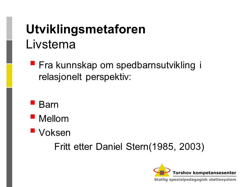 Utviklingsmetaforen Livstema  Fra kunnskap om spedbarnsutvikling i relasjonelt perspektiv:  Barn  Mellom  Voksen Fritt etter Daniel Stern(1985, 2003)