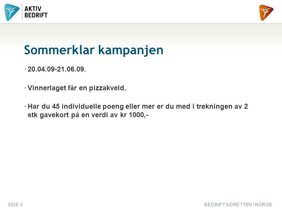 BEDRIFTSIDRETTEN I NORGESIDE 4 Sommerklar kampanjen 20.04.09-21.06.09.