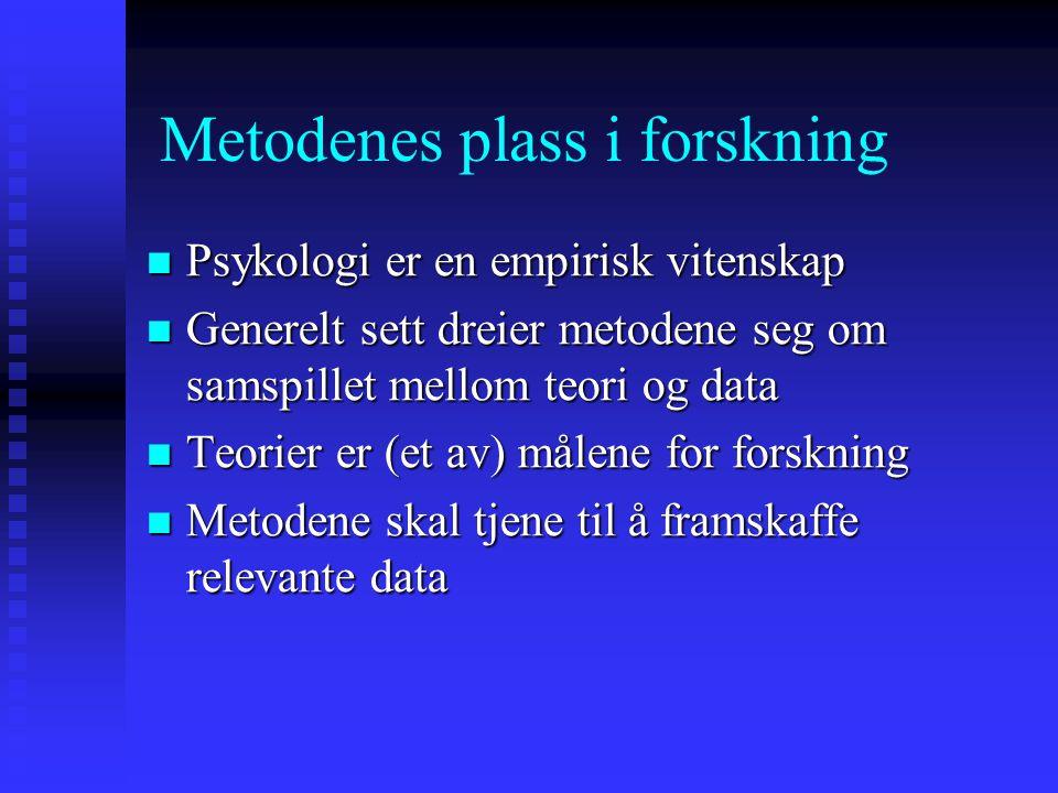 Metodenes plass i forskning Psykologi er en empirisk vitenskap Psykologi er en empirisk vitenskap Generelt sett dreier metodene seg om samspillet mell