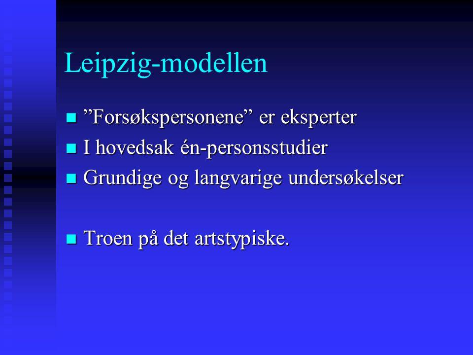 """Leipzig-modellen """"Forsøkspersonene"""" er eksperter """"Forsøkspersonene"""" er eksperter I hovedsak én-personsstudier I hovedsak én-personsstudier Grundige og"""