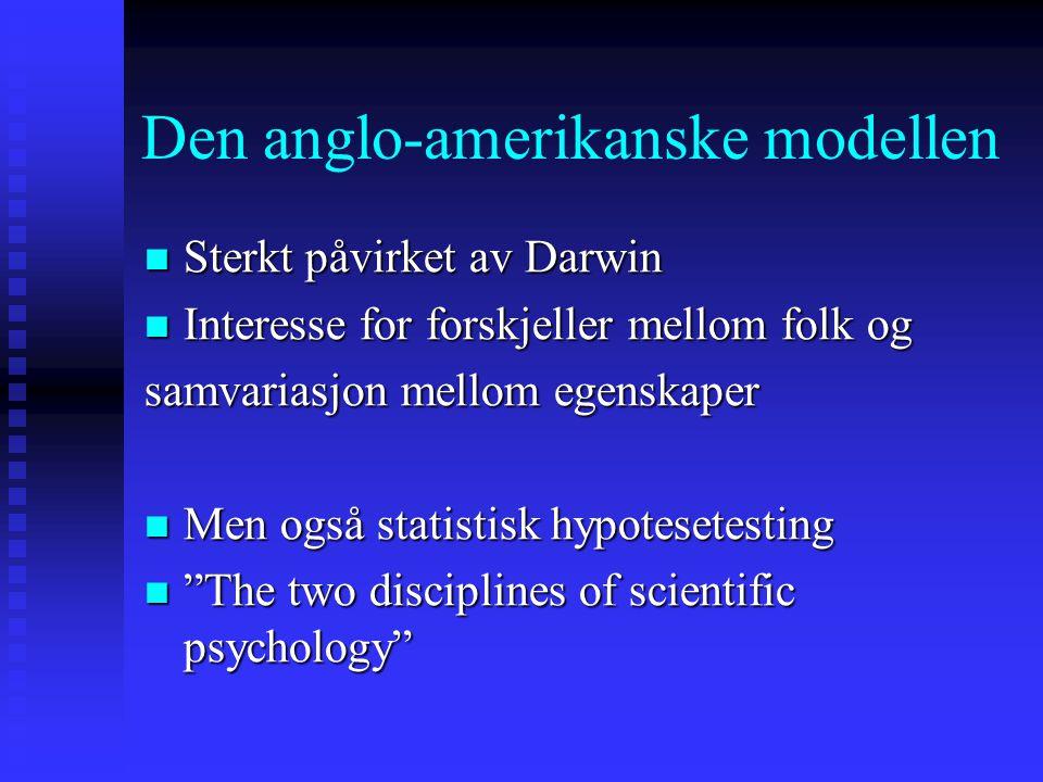 Den anglo-amerikanske modellen Sterkt påvirket av Darwin Sterkt påvirket av Darwin Interesse for forskjeller mellom folk og Interesse for forskjeller