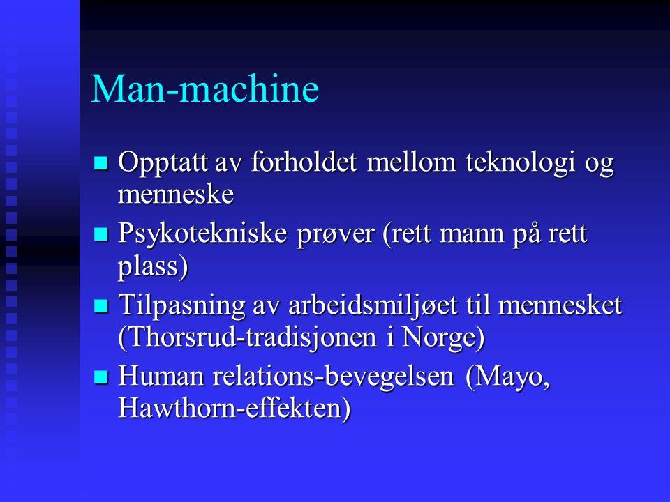 Man-machine Opptatt av forholdet mellom teknologi og menneske Opptatt av forholdet mellom teknologi og menneske Psykotekniske prøver (rett mann på ret