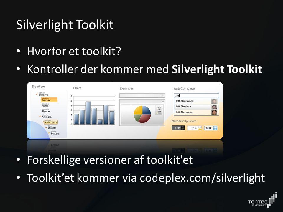 Silverlight Toolkit Hvorfor et toolkit.