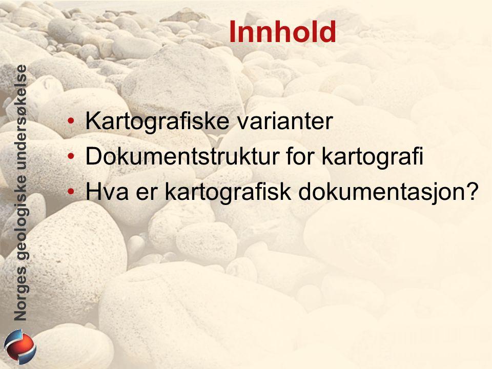 Norges geologiske undersøkelse Innhold Kartografiske varianter Dokumentstruktur for kartografi Hva er kartografisk dokumentasjon?