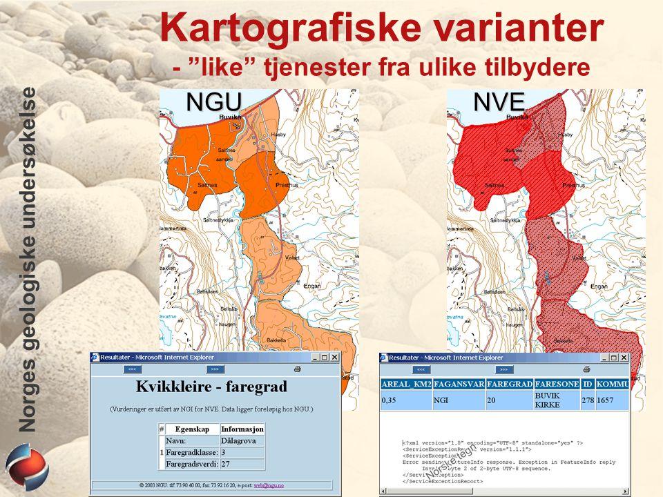 Norges geologiske undersøkelse Kartografiske varianter - like tjenester fra ulike tilbydereNGUNVE