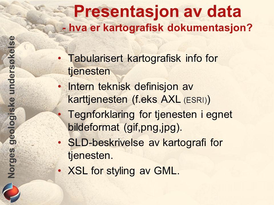 Norges geologiske undersøkelse Presentasjon av data - hva er kartografisk dokumentasjon.
