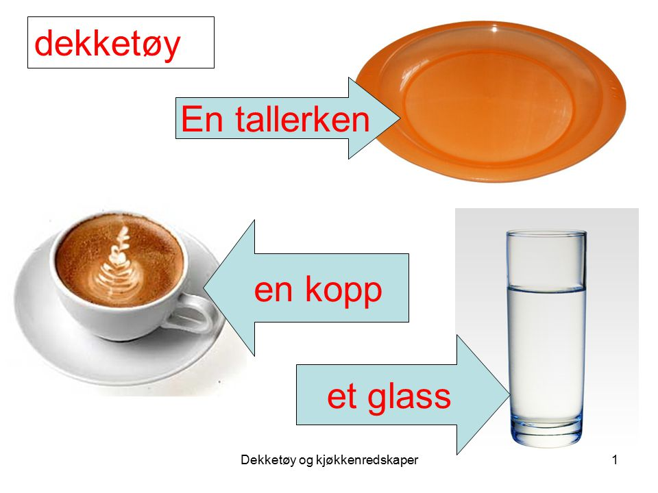 Dekketøy og kjøkkenredskaper1 En tallerken et glass en kopp dekketøy