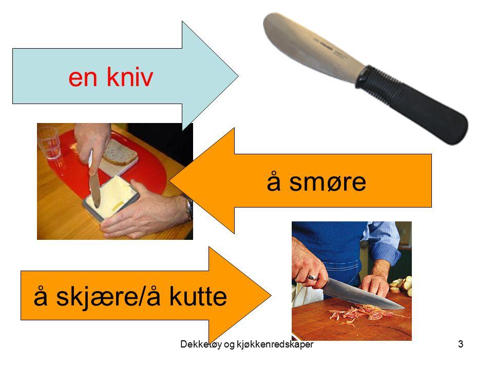 Dekketøy og kjøkkenredskaper4 en gaffel å spise med kniv og gaffel