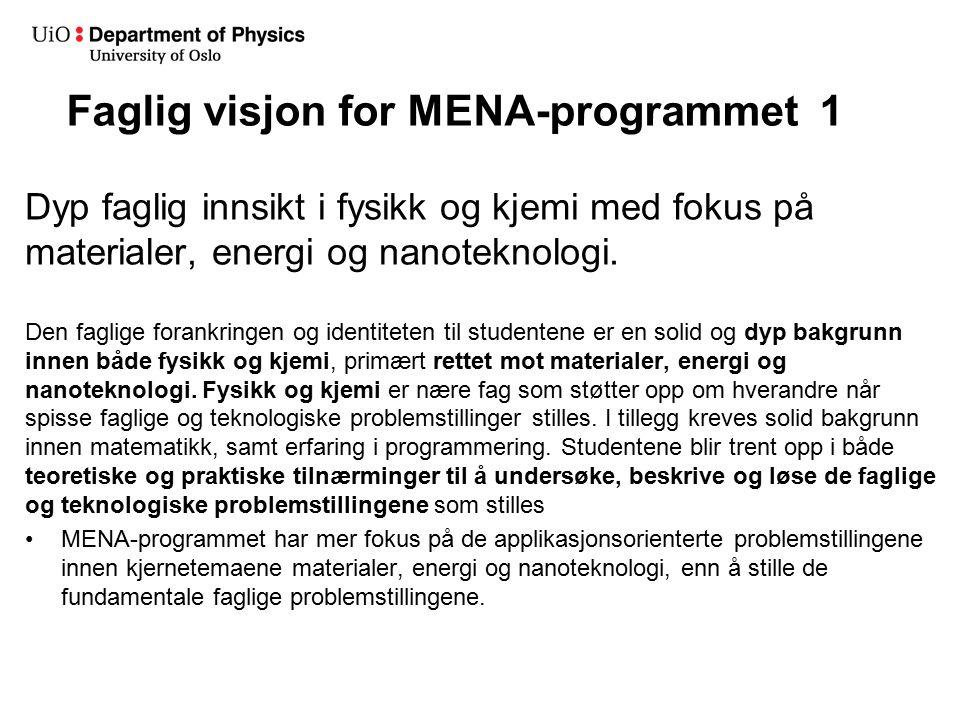 Faglig visjon for MENA-programmet 1 Dyp faglig innsikt i fysikk og kjemi med fokus på materialer, energi og nanoteknologi.