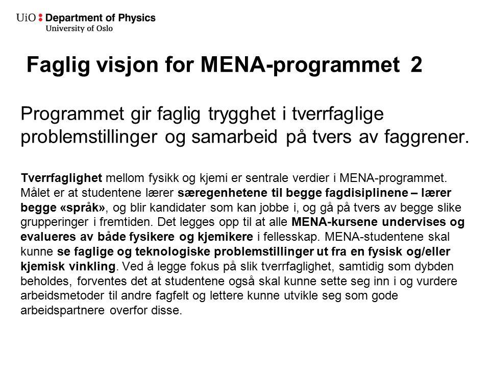 Faglig visjon for MENA-programmet 2 Programmet gir faglig trygghet i tverrfaglige problemstillinger og samarbeid på tvers av faggrener.
