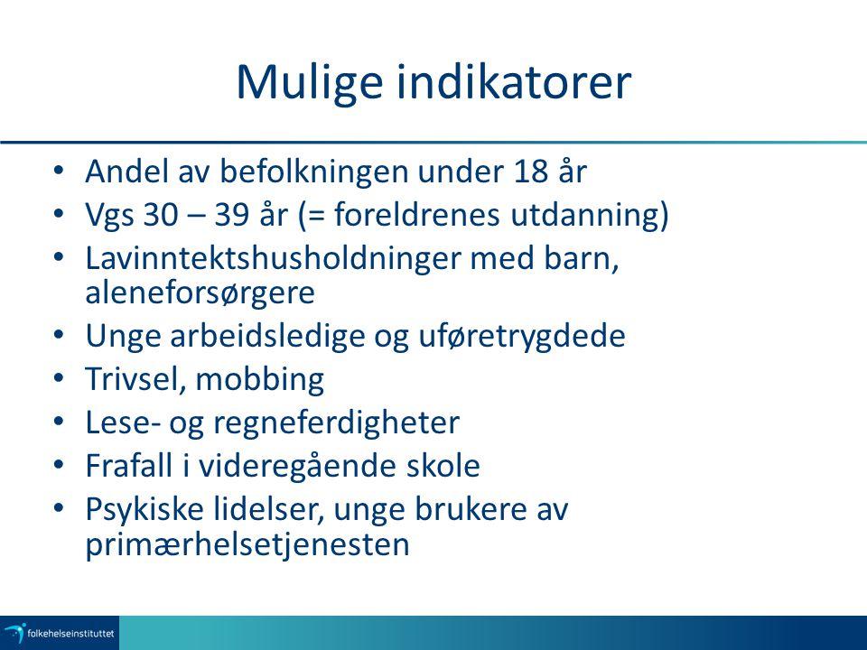 Eksempler fra databankene Leseferdighet, 5.og 8. trinn (Kommunehelsa) Regneferdighet, 5.