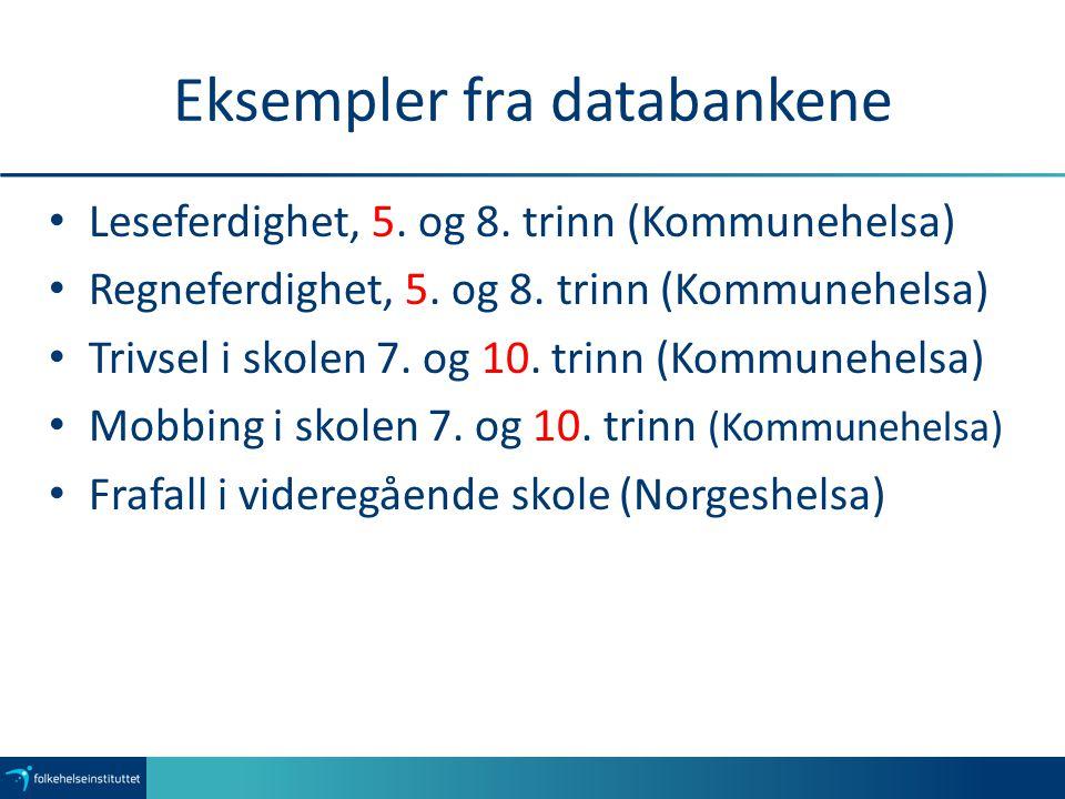 Eksempler fra databankene Leseferdighet, 5. og 8.