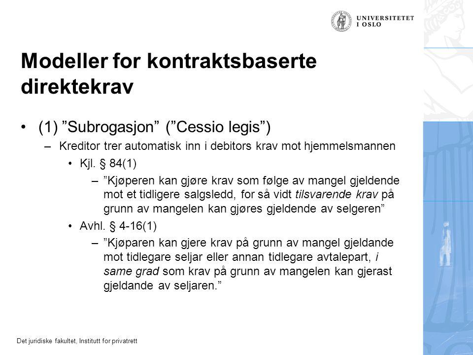 """Det juridiske fakultet, Institutt for privatrett Modeller for kontraktsbaserte direktekrav (1) """"Subrogasjon"""" (""""Cessio legis"""") –Kreditor trer automatis"""