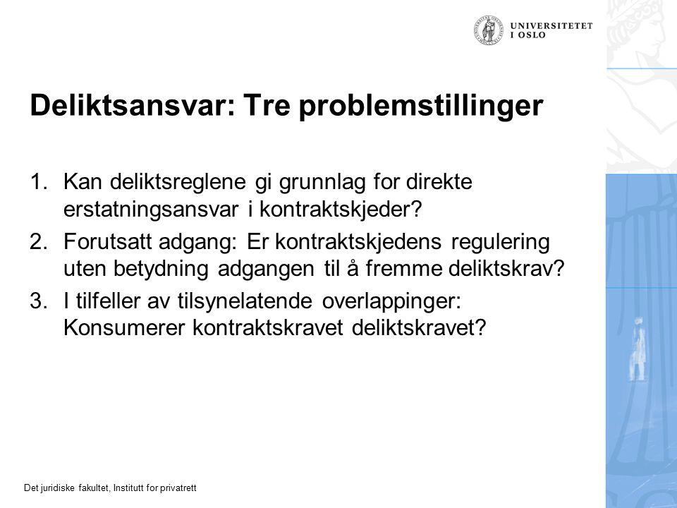 Det juridiske fakultet, Institutt for privatrett Deliktsansvar: Tre problemstillinger 1.Kan deliktsreglene gi grunnlag for direkte erstatningsansvar i kontraktskjeder.