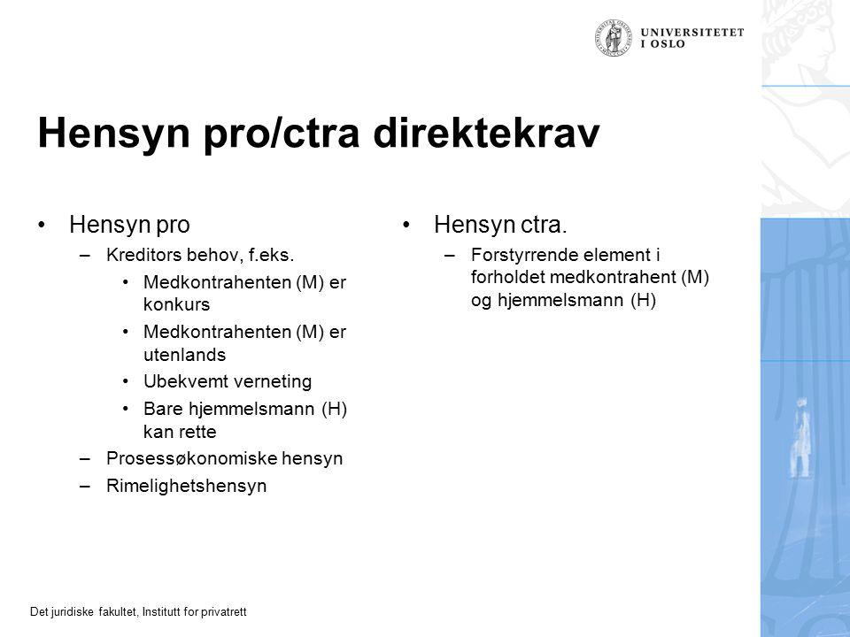 Det juridiske fakultet, Institutt for privatrett Hensyn pro/ctra direktekrav Hensyn pro –Kreditors behov, f.eks.