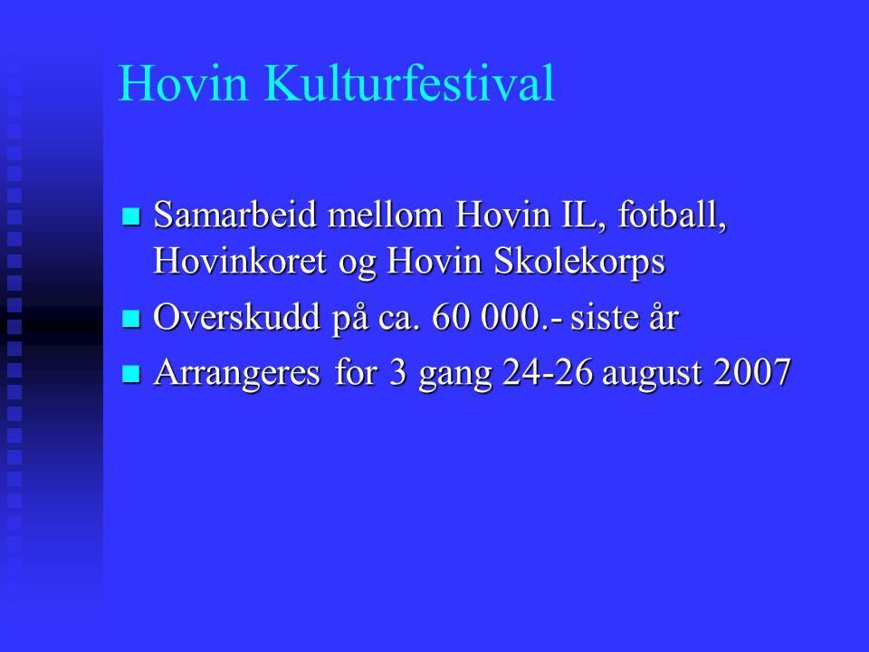 Hovin Kulturfestival Samarbeid mellom Hovin IL, fotball, Hovinkoret og Hovin Skolekorps Samarbeid mellom Hovin IL, fotball, Hovinkoret og Hovin Skolekorps Overskudd på ca.