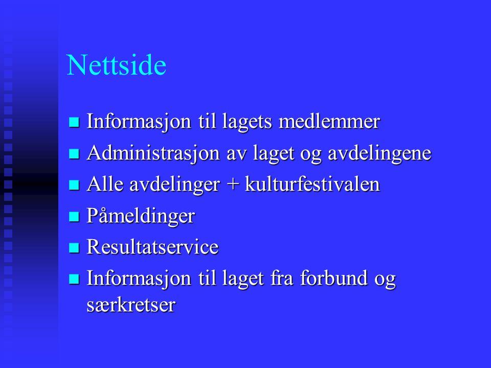 Nettside Informasjon til lagets medlemmer Informasjon til lagets medlemmer Administrasjon av laget og avdelingene Administrasjon av laget og avdelinge