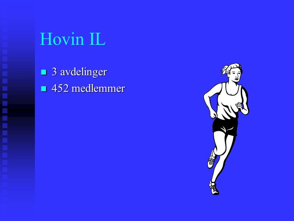 Hovin IL 3 avdelinger 3 avdelinger 452 medlemmer 452 medlemmer