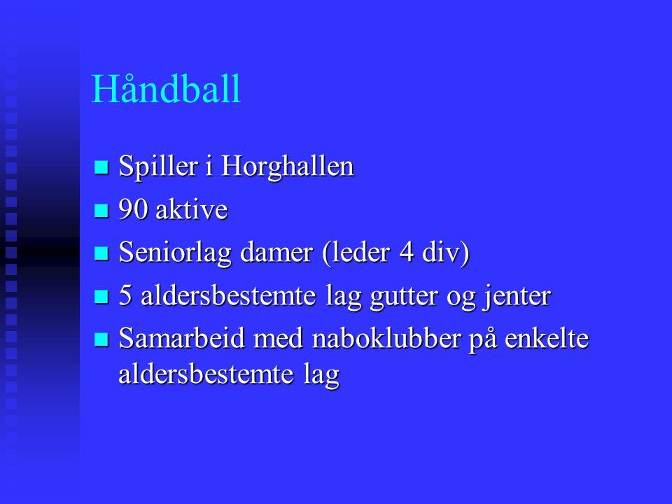 Håndball Spiller i Horghallen Spiller i Horghallen 90 aktive 90 aktive Seniorlag damer (leder 4 div) Seniorlag damer (leder 4 div) 5 aldersbestemte la