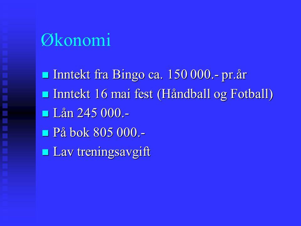 Økonomi Inntekt fra Bingo ca. 150 000.- pr.år Inntekt fra Bingo ca. 150 000.- pr.år Inntekt 16 mai fest (Håndball og Fotball) Inntekt 16 mai fest (Hån