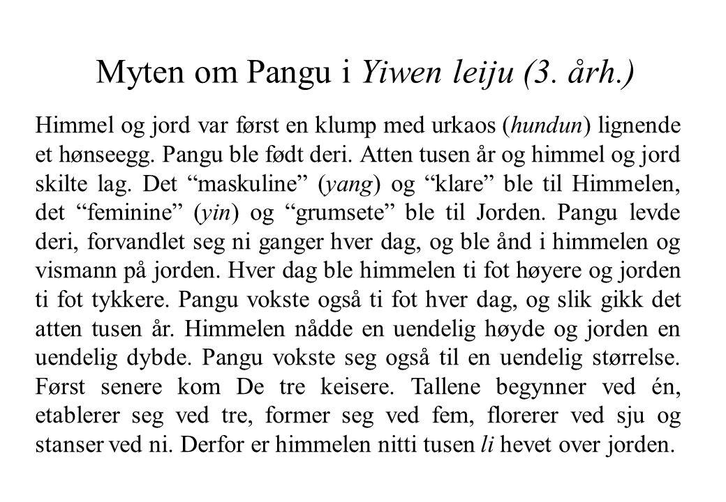 Myten om Pangu i Yiwen leiju (3. årh.) Himmel og jord var først en klump med urkaos (hundun) lignende et hønseegg. Pangu ble født deri. Atten tusen år